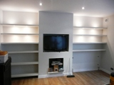 shelves with lights